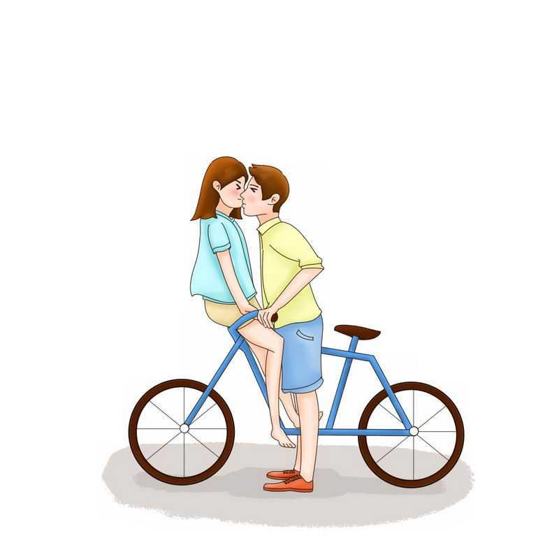 女孩坐在自行车把手上和男孩接吻情侣温馨画面5959392PSD图片免抠素材