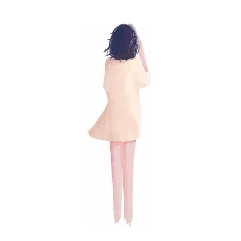 米黄色连衣裙素雅风格女孩背影手绘插画1687896PSD图片免抠素材