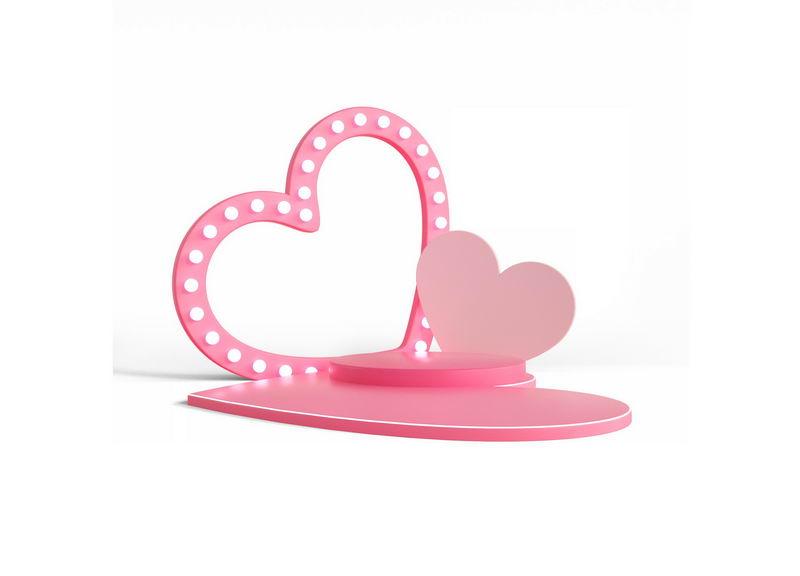 3D立体粉色心形舞台展台情人节6564806图片免抠素材 线条形状-第1张