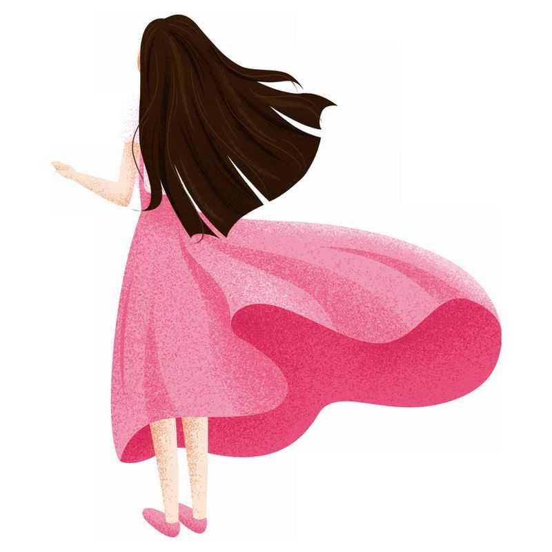 大风中飘舞的红色裙子长发飘飘的女孩背影手绘插画7137389PSD图片免抠素材