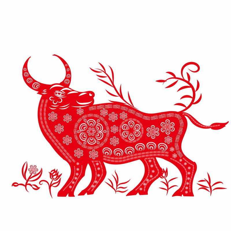 牛年红色剪纸图案2972420图片免抠素材