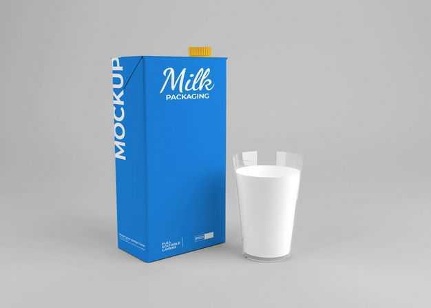 玻璃杯中的牛奶和蓝色包装的盒装牛奶包装显示样机7287140免抠图片素材