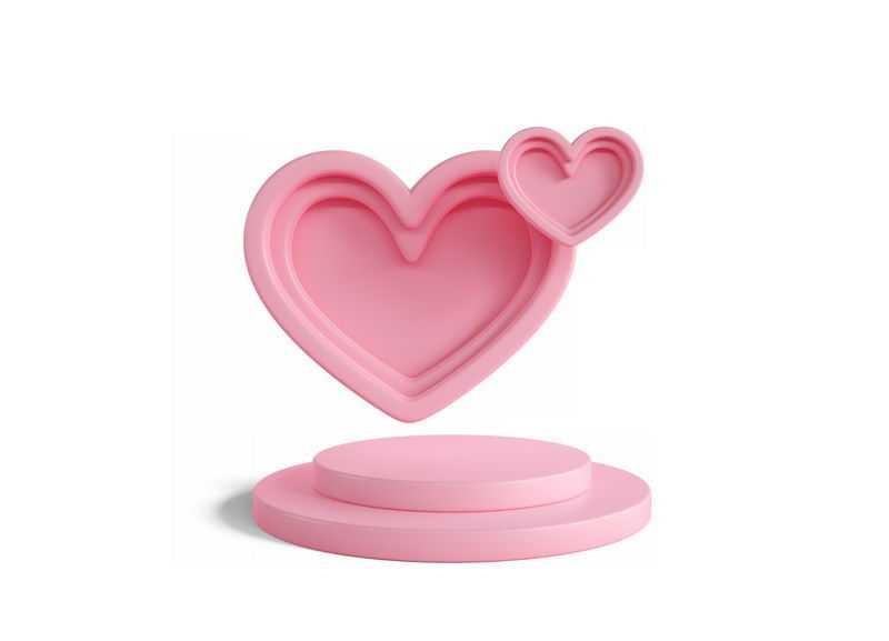 3D立体粉色心形舞台展台情人节9943036图片免抠素材