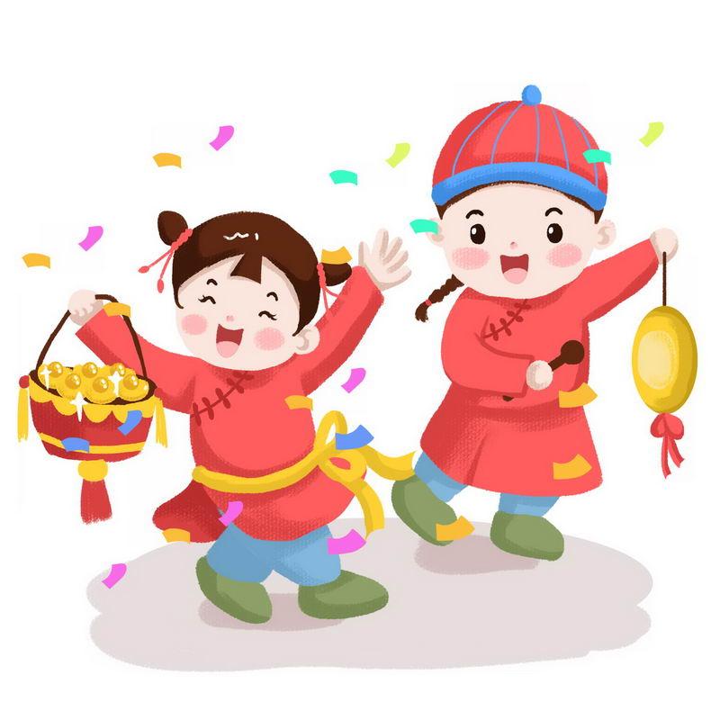 新年春节敲锣打鼓的传统卡通童男童女5203978图片免抠素材 节日素材-第1张
