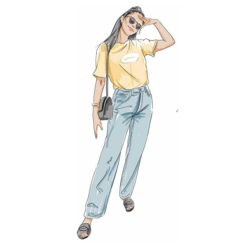 用手遮阳的黄色T恤和牛仔裤休闲服装超酷女孩3474291PSD图片免抠素材