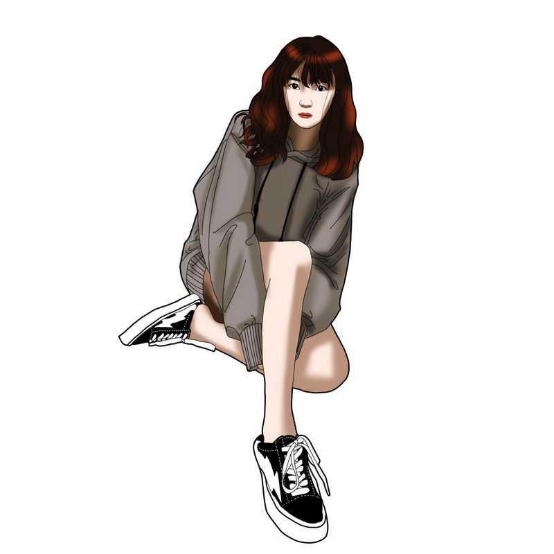 性感身材大长腿上衣失踪风格美女学生妹蹲在地上4631154图片免抠素材