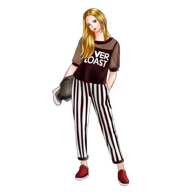 身穿条纹裤子和半透明衣服的金发女孩大长腿休闲装5043502PSD图片免抠素材