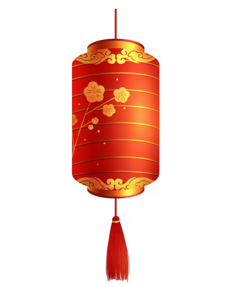 一款圆柱形红色灯笼新年春节装饰7978498图片免抠素材 节日素材-第1张