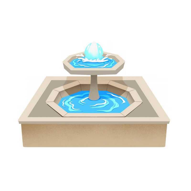 方形喷泉园林建筑6938337图片免抠素材