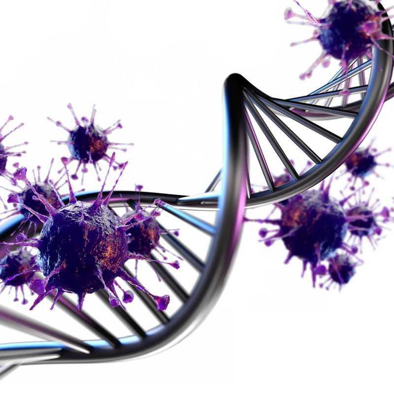 金属色风格的DNA双螺旋结构和紫色3D立体病毒5925772图片免抠素材
