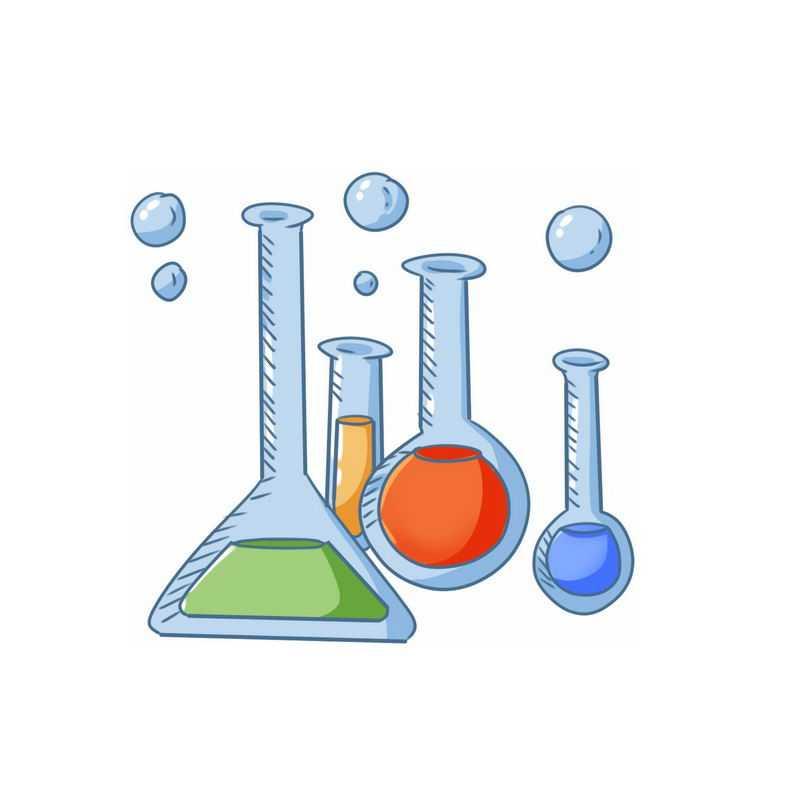 彩色手绘涂鸦风格试管锥形瓶烧瓶等化学实验插画7742216PSD图片免抠素材