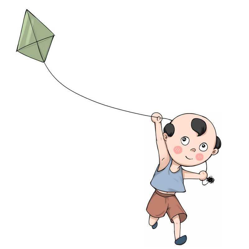 正在放风筝的卡通小男孩2101490图片免抠素材