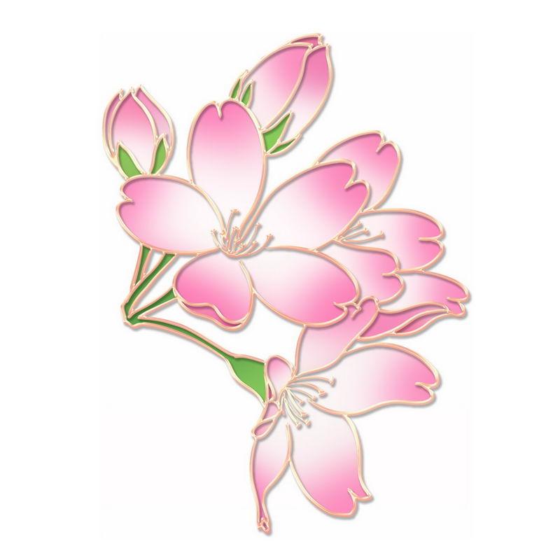 中国风金丝包边风格粉色绿色盛开的桃花6445999图片免抠素材 生物自然-第1张