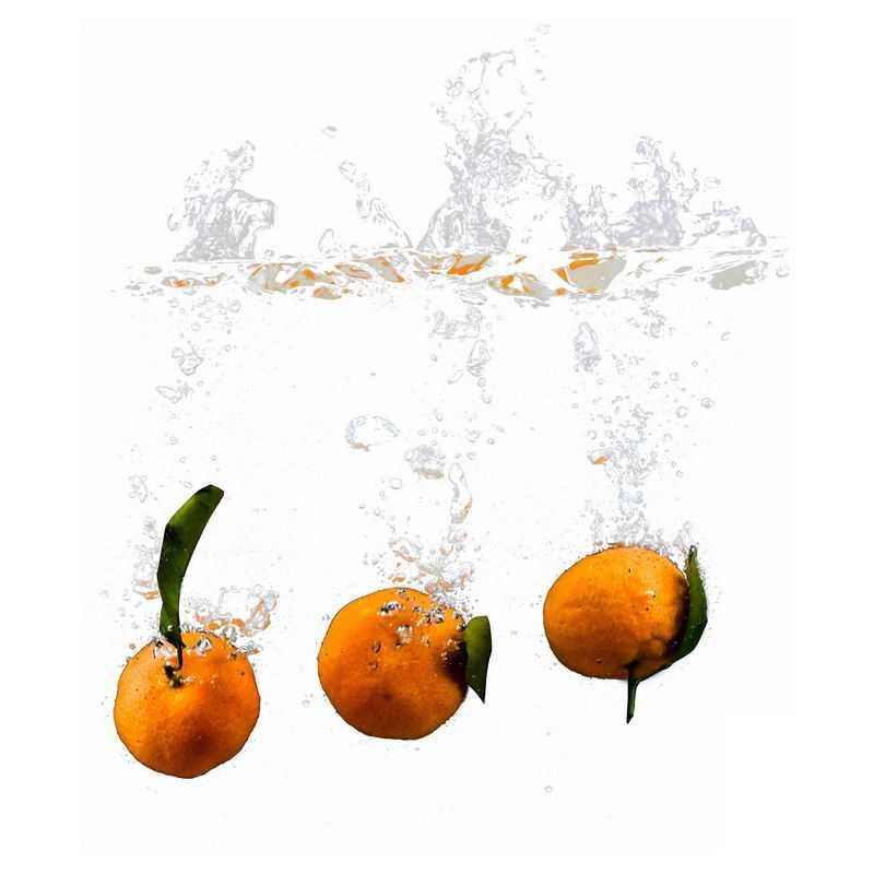 橘子掉落水中飞溅起来的半透明水花浪花水效果3132253png图片免抠素材