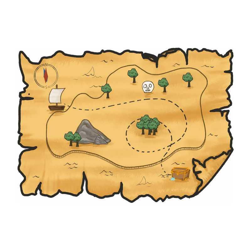 一张手绘复古风格的寻宝图藏宝图地图9695580图片免抠素材