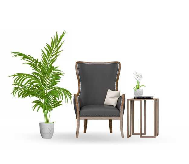 绿植盆栽茶几以及复古风格皮质单人沙发椅4719413免抠图片素材