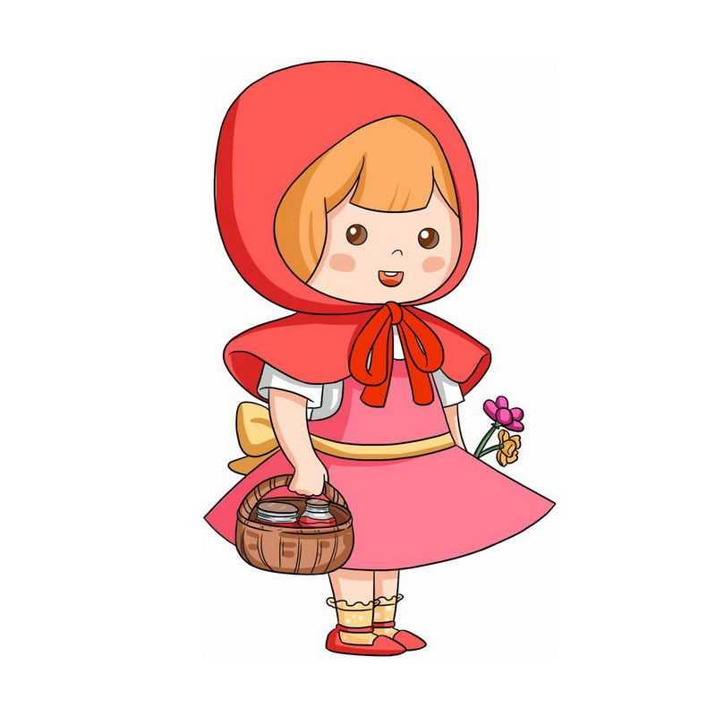 拿着篮子和花朵的小红帽卡通小女孩童话人物插画10674356图片免抠素材