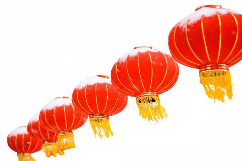 一排6个大红灯笼新年春节装饰6575451png图片免抠素材
