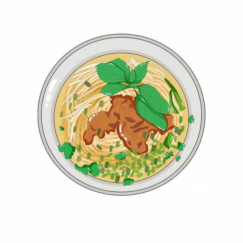 手绘风格的一碗牛肉面5723820png图片免抠素材