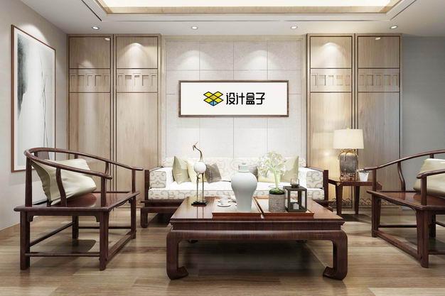 中式装修的会客厅复古实木家具墙壁上的挂画装饰画显示样机2118809图片素材 样机-第1张