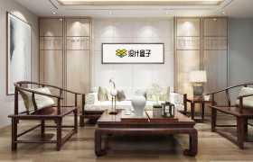 中式装修的会客厅复古实木家具墙壁上的挂画装饰画显示样机2118809图片素材