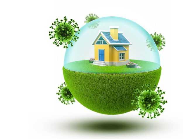 3D立体创意绿色草坪和防护罩保护的房子阻止病毒9942232免抠图片素材