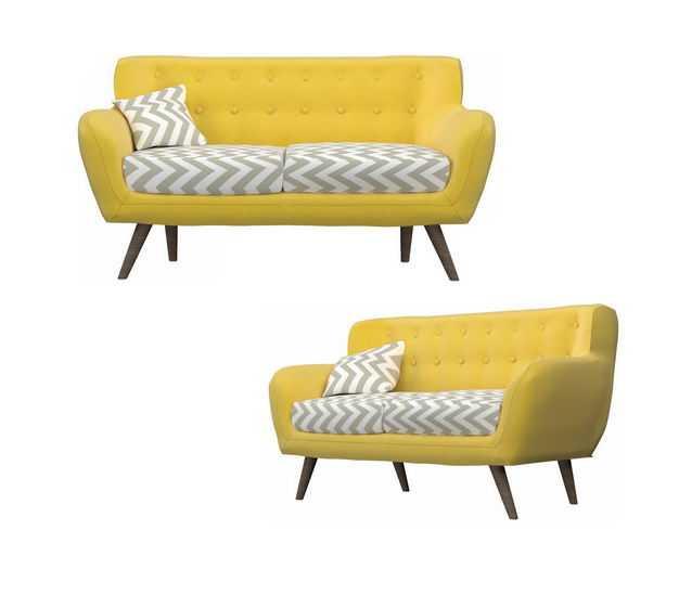 两款简约风格黄色双人沙发布艺沙发4954741免抠图片素材
