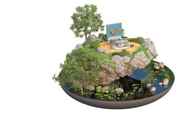 3D立体风格湖边的旅游景点豪华别墅民宿装修效果图4587729免抠图片素材