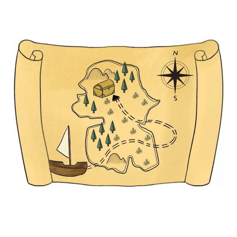 一张手绘复古风格的寻宝图藏宝图地图4820723图片免抠素材 休闲娱乐-第1张