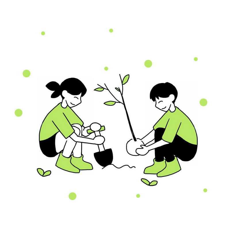 线条风格植树造林手绘植树节插画1941395图片免抠素材