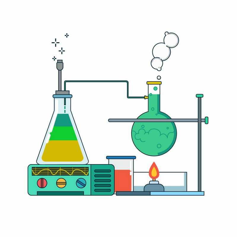 扁平化风格酒精灯烧瓶锥形瓶化学实验仪器插画3980011ai矢量图片免抠素材
