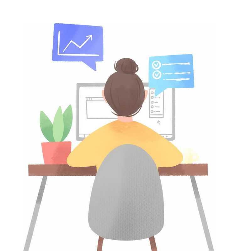 坐在电脑面前办公的女孩背影手绘插画8877885PSD图片免抠素材
