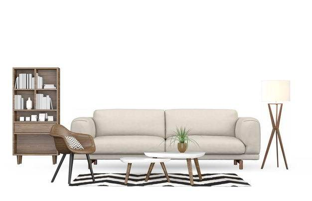 盆栽植物落地台灯茶几椅子书架和米白色布艺沙发三人沙发8338932免抠图片素材