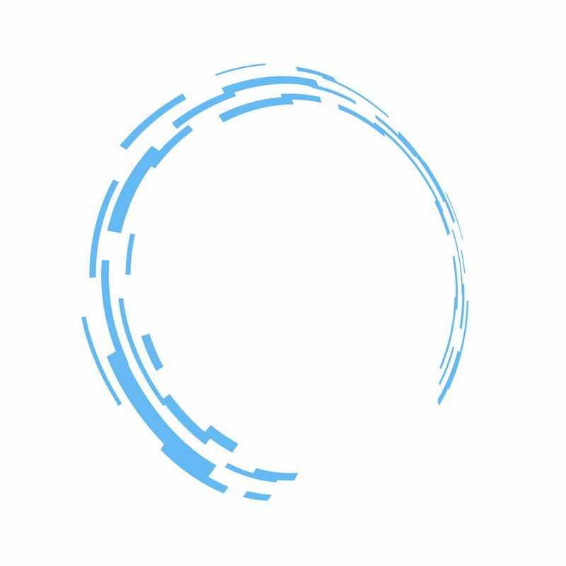 蓝色短线组成的科技科幻风格圆环装饰2291015ai矢量图片免抠素材