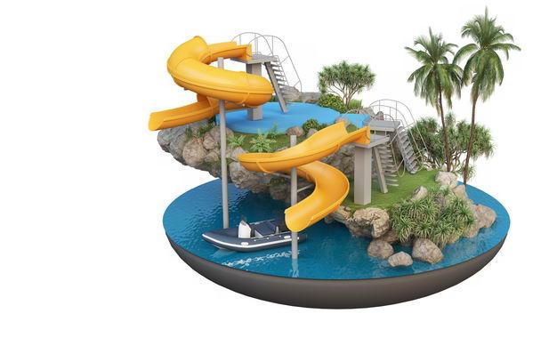 3D立体风格游乐场水上世界旅游景点效果图9054209免抠图片素材 建筑装修-第1张