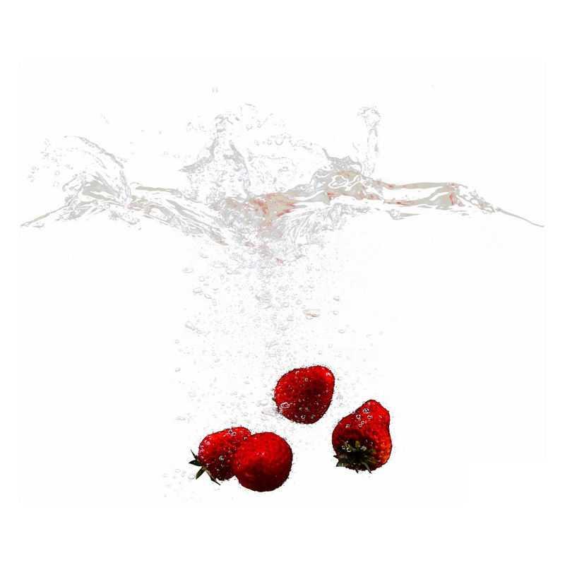 草莓掉落水中飞溅起来的半透明水花浪花水效果3977465png图片免抠素材