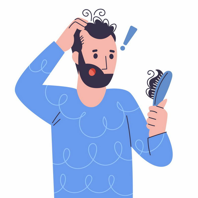卡通男人梳头发脱发掉发严重插画4512429图片免抠素材 健康医疗-第1张