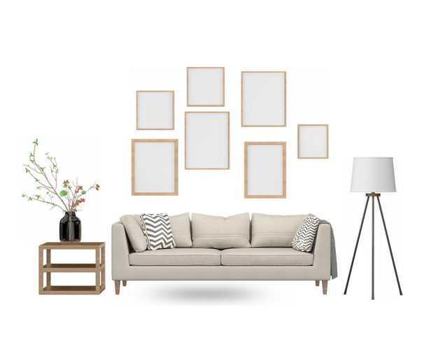 盆栽植物落地台灯墙壁挂画和米白色布艺沙发三人沙发3166340免抠图片素材