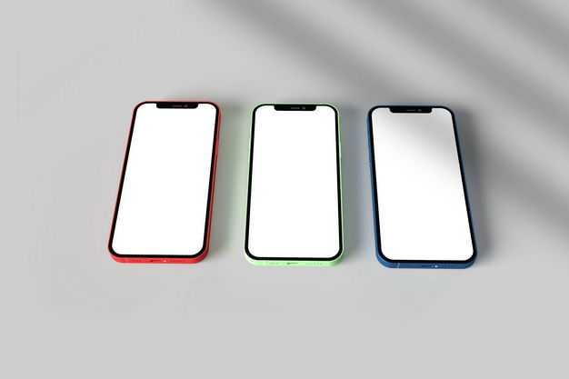 三种颜色的苹果手机iPhone12显示样机7420957免抠图片素材