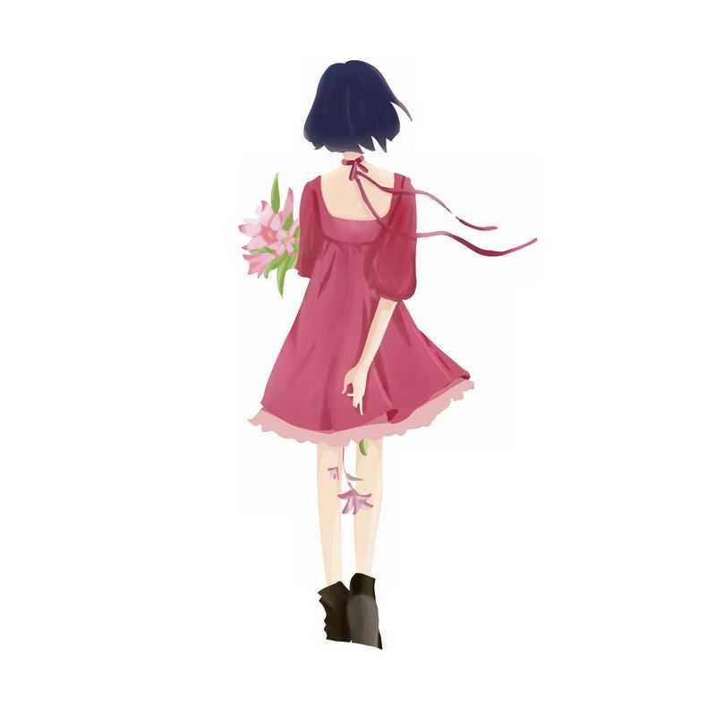 身穿红色裙子手捧鲜花的女孩背影手绘插画9362657PSD图片免抠素材