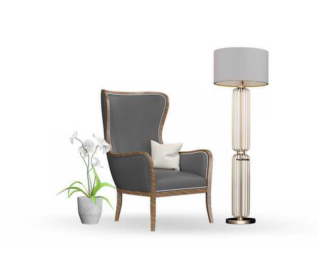 绿植盆栽精美落地台灯以及复古风格皮质单人沙发椅5911034免抠图片素材