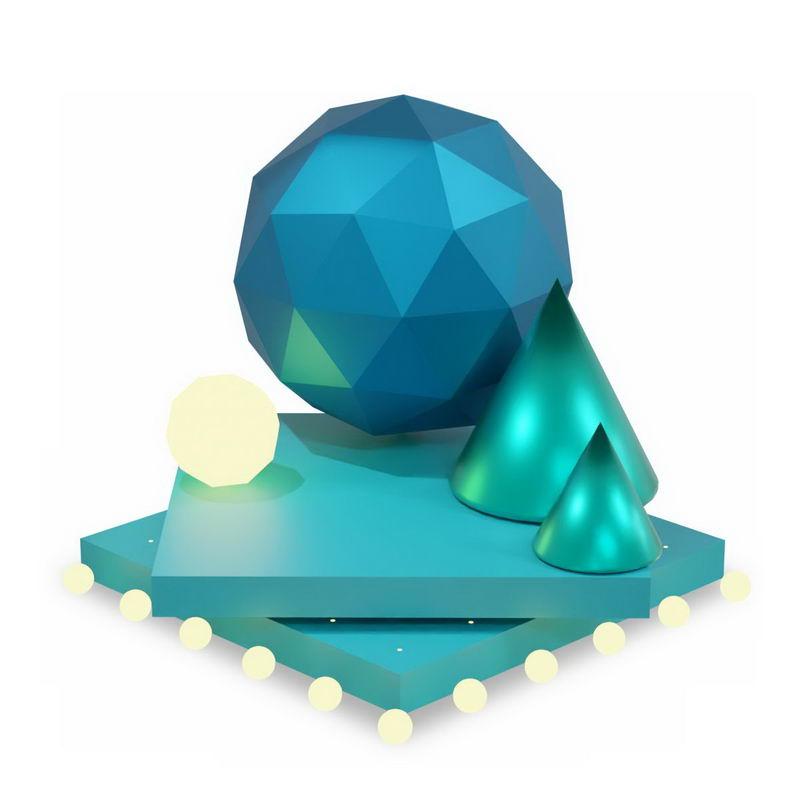 3D立体方形平台上的树形球形等多边形3700143图片免抠素材 线条形状-第1张