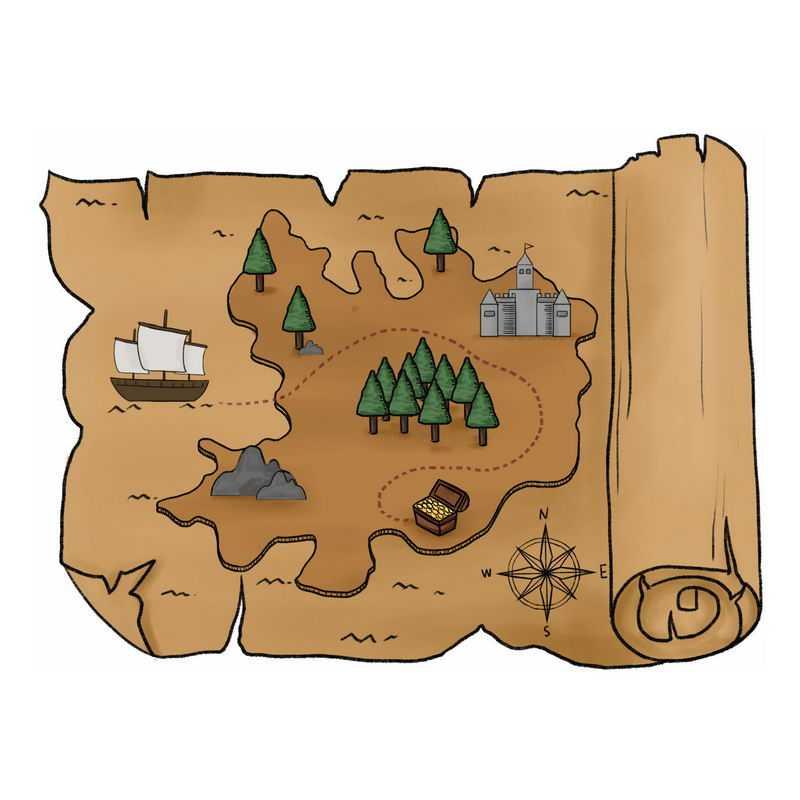 一张手绘复古风格的寻宝图藏宝图地图2490731图片免抠素材