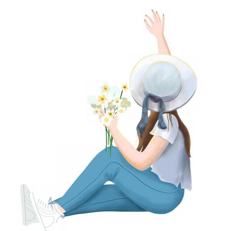 戴着遮阳帽手拿鲜花的蓝色牛仔裤女孩坐在地上挥手抚摸背影手绘插画3780718PSD图片免抠素材