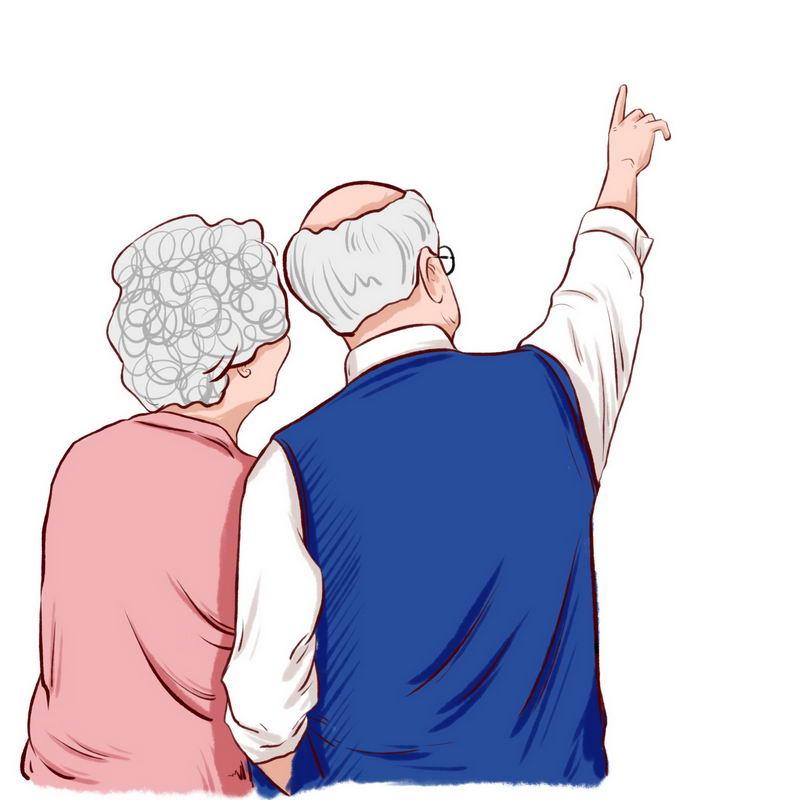 两位老人老夫妻背影2554838图片免抠素材 人物素材-第1张