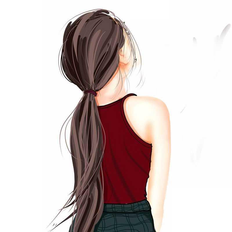 头发扎起来的红背心女孩背影手绘插画9940376PSD图片免抠素材