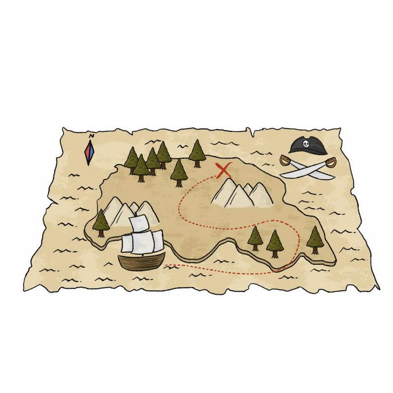一张手绘复古风格的寻宝图藏宝图地图1225629图片免抠素材 休闲娱乐-第1张