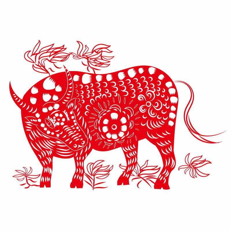 牛年红色剪纸图案3909551图片免抠素材