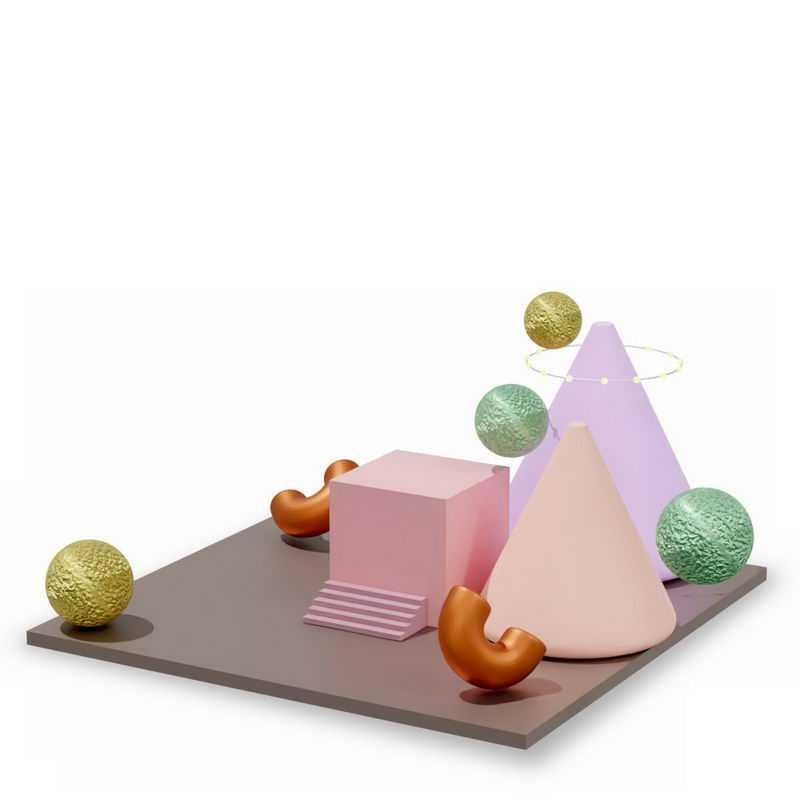 3D立体平台上的方形锥形球形等多边形3469929图片免抠素材