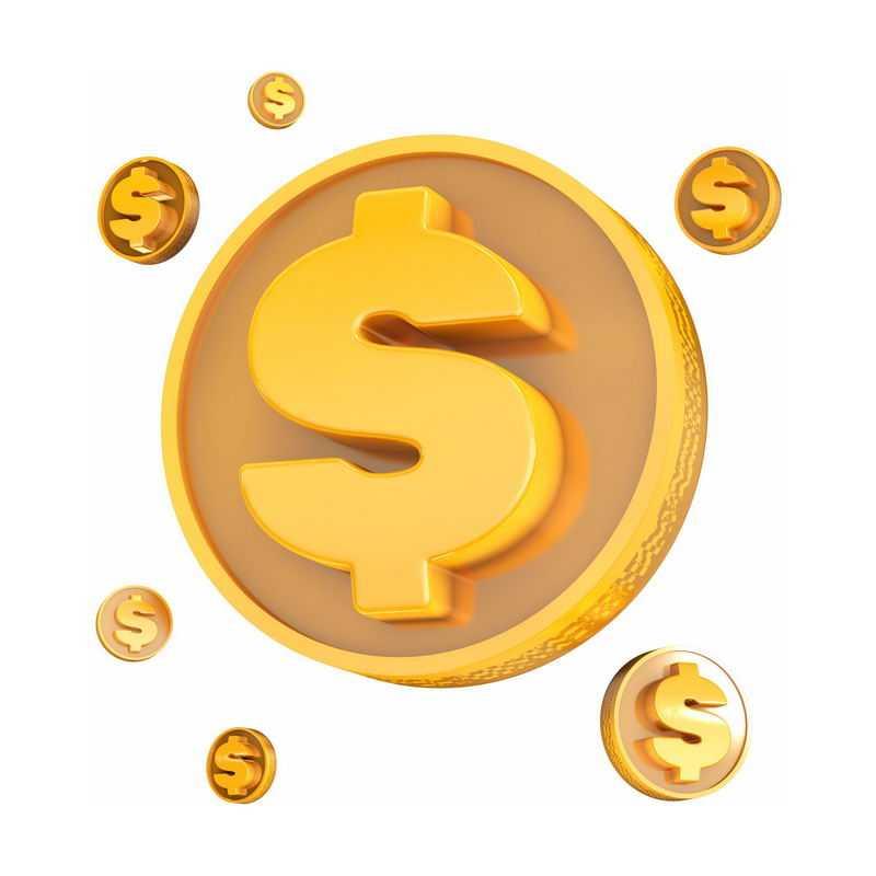 3D立体风格金色卡通美元符号金币5548996图片免抠素材